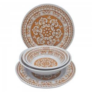 Wholesale classic retro pattern design melamine plate and bowl dinner set