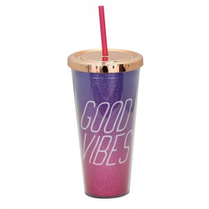 Discount Price 24 Oz Stainless Steel Tumbler - 20oz double wall plastic tumber with straw – SUNSUM