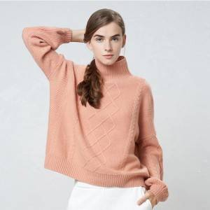 Popular Ladies Cashmere Knitted Solid Pullover Sweater