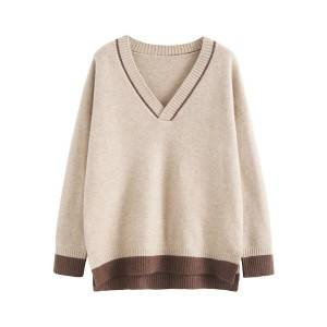 Women Fancy Stitch Boutique V Neck Student Knitted Striped Long Sleeve Pullover Sweater