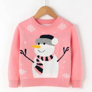 Bottom price Heavy Knit Cardigan - Wholesale Girls Fashion Snowman Christmas Pullover Sweater – Haiermei