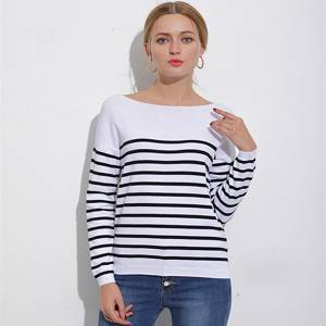 Original Factory Ladies Beaded Sweater - Custom Women Black And White Stripe Knitted Sweater – Haiermei