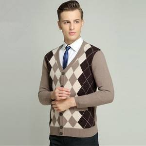 Custom V Neck Sweaters Men Intarsia Cashmere Knitted Cardigan