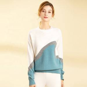100% Original Factory Ladies Cashmere Sweater - Custom Women Crew Neck Cashmere Knitted Color Block Pullover Sweater – Haiermei