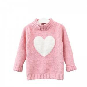 Free sample for Cashmere Sweater - Custom Girls Soft Heart Semi-Turtleneck Fashion Sweater – Haiermei
