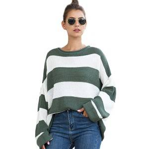 Factory directly supply Ladies Nylon Sweater - Custom Women High Quality Striped Pullover Knit Sweater Jumper – Haiermei