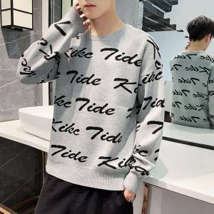 Fashion Custom Knit Wholesale Jacquard Pullover Men Sweater