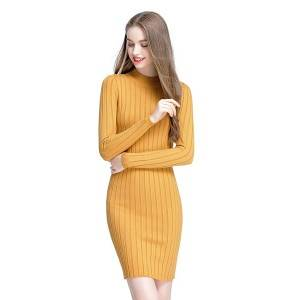 Custom Pullovers Rib Knit Half High Collar Ladies Long Sleeve Sweater Dress