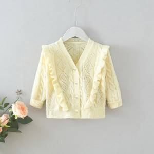 China Factory for Linen Cardigan - Girl V-Neck Long Sleeve Diamond Hollow Cardigan Style Sweater – Haiermei