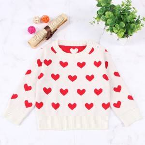 Manufacturer of Merino Wool Sweater - Red Hearts Pattern Girls Pullover Sweaters – Haiermei