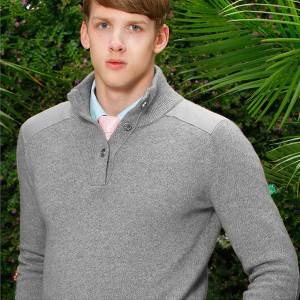 Custom Half-High Stand Collar Patches Cashmere Men Knitted Pullover Sweater