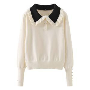 Ladies Knitted Cotton Long-Sleeved Ruffled Collar Pullover Lapel Sweater