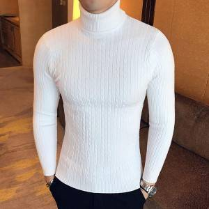 Men Turtleneck Solid Color Slim Pullover Knitting Sweater Wholesale