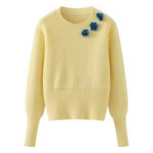 Ladies Fashion Long-Sleeved OEM Flower Knitted Sweater