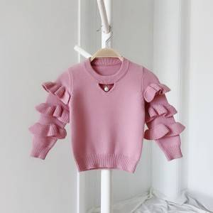 Original Factory Striped Knit Sweater - OEM Girl O-Neck Knitted Ruffle Sweater – Haiermei