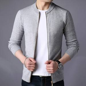 Wholesale Men's Zipper Fancy Cardigan Knit Sweater
