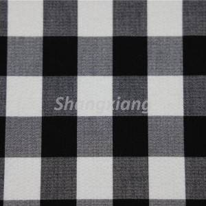 Crinkle TR woven seersucker fabric black white plaid