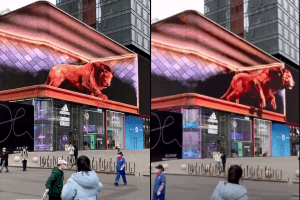Naked Eye 3D Large LED Screen Outdoor LED Display