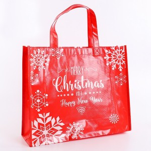 Christmas Gift Shopping Laminated PP Non Woven Tote Bag