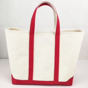 16oz 100% Cotton Canvas Tote Bag with Contrast Color Handle Strap