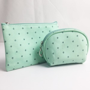 Mint Green Crown All Over Print Slim Cotton Zipper Bag Cosmetic Pouch