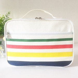 Colorful Striped Cotton Canvas Storage Tool Toy Bag