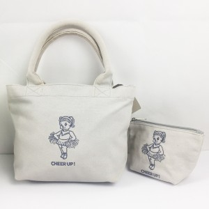 Elite Embroidery Cheer Up Organic Cotton Canvas Tote Bag