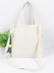 Stylish Double Handle Shouler Bag with Two Front Pocket Natural Heavy Cotton Canvas Tote Bag