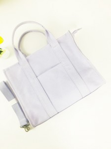 Vintage Lilac Cotton Canvas Tote Bag Fashion Ladies Handbag