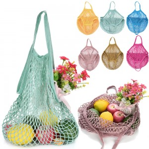 Biodegraded Foldable Cotton Mesh Tote Bag Net Shopper Grocery Bag