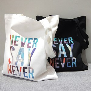 "Lux Accessories Cotton Canvas Bling ""Never Say Never"" Print Shoulder Tote Bag"