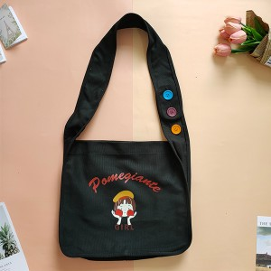Casual Daily Tote with Decor Shoulder Length Handle and Inner Pocket, Colorful Printing Canvas Bag