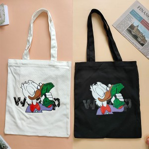 "Cute ""Donald Duck"" Custom Cotton Zippered Tote Bag"