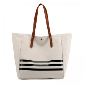 Striped Design Lady Handbag Canvas Cotton Tote Bag