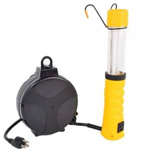 Fluorescent Retractable Cord Reel work light, AC powered
