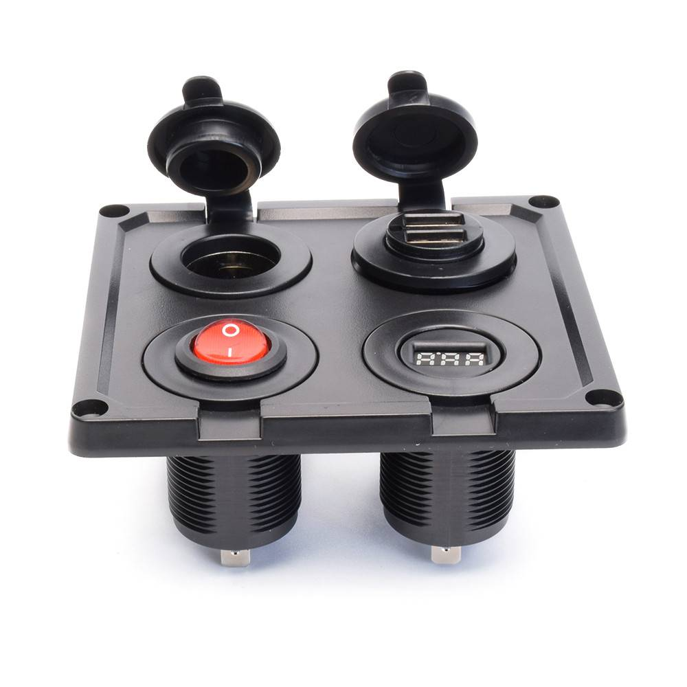 Cigarette Lighter Socket Splitter Car Marine Motorcycle Atv Rv Lighter Socket Power Outlet Socket Receptacle 12v Dc Flush Mount With Wire Waterproof Switch Panel