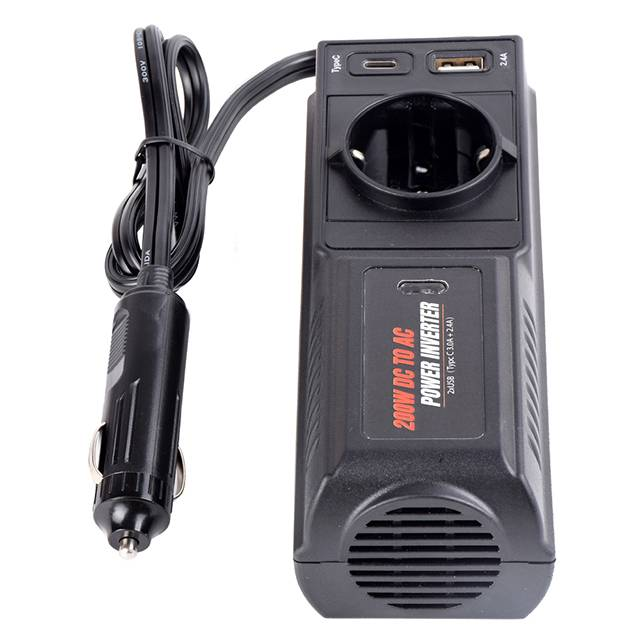 Compact design 12V to 220V/230V power inverter 200W dc to ac power strip inverter with USB charger for car