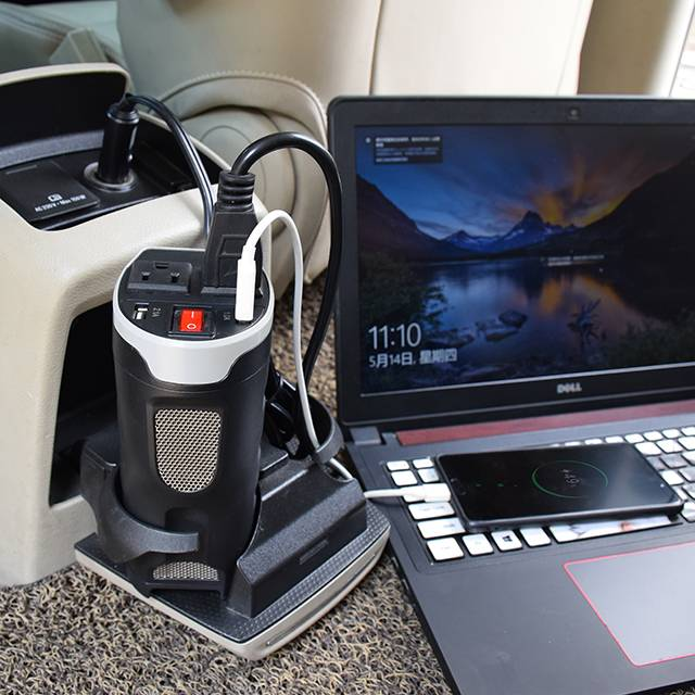 200W Car Power Inverter with Outlets & 2 USB Charging Ports, Cup-Shaped Design, Auto Inverter DC to AC Converter 200W Cup Holder Power Inverter DC 12V to 230V AC Converter with Two USB Ports Modified Sine Wave