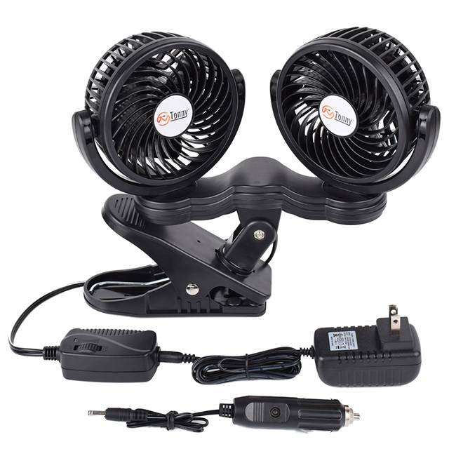 Dual Head Clip Fan, 4 Inches Electric Car Clip Fans 360° Rotatable,12V Cooling Air Fan with Stepless Speed Regulation for Vehicle or Home