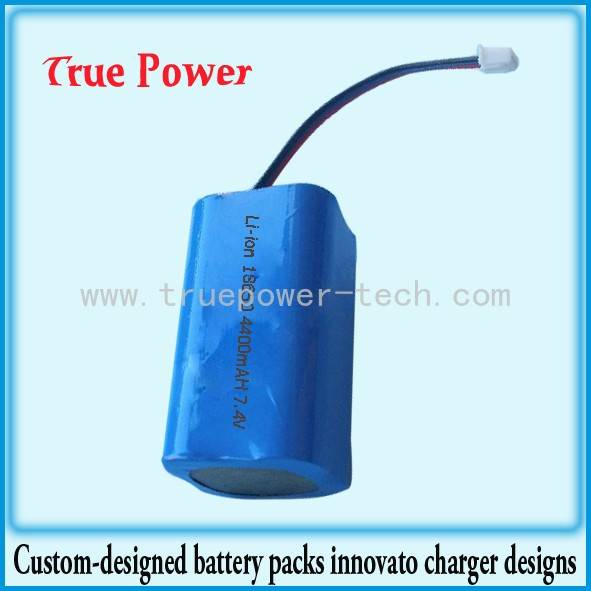 7.4V 4400mAh 18650 Li-ion Battery Packs With Water-Proof Coating Rubber