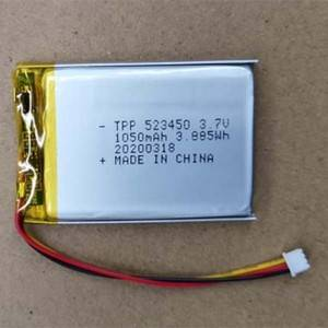 Manufacturing Companies for 6 Volt Lithium Ion Battery - High quality TPP523450 3.7v 1000mah lipo battery 523450 for GPS tracker with IEC62133, UN38.3 certification – True Power