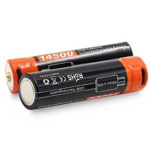 14500: 3.7V Micro USB Rechargeable AA Battery 14500 750mAh