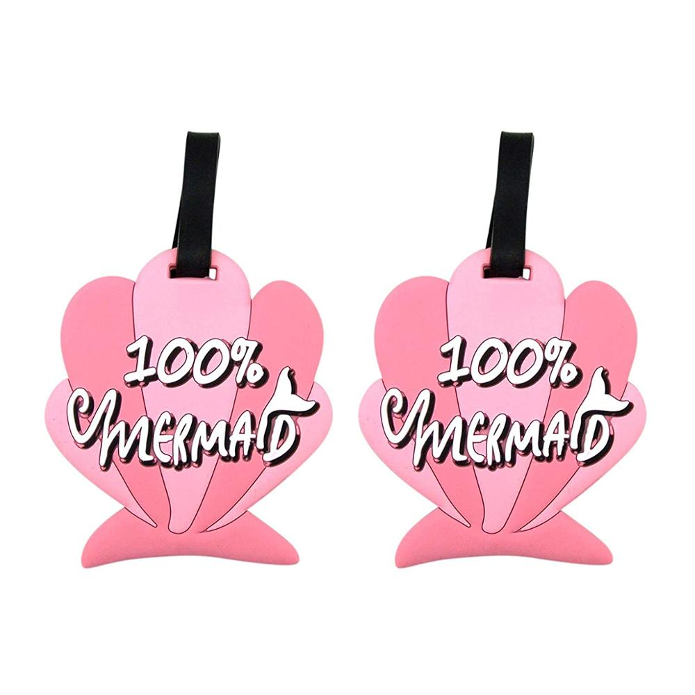 Tropical Pink 100% Mermaid Beach Shell Luggage Tags, 3 3/4 Inch, Pack of 2