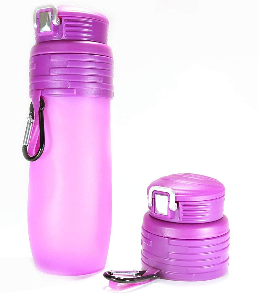 Best-Selling Foldable Silicone Water Bottle – 473.2ml Leakproof BPA, Suitable For Any Outdoor Or Sports Activities, Pink