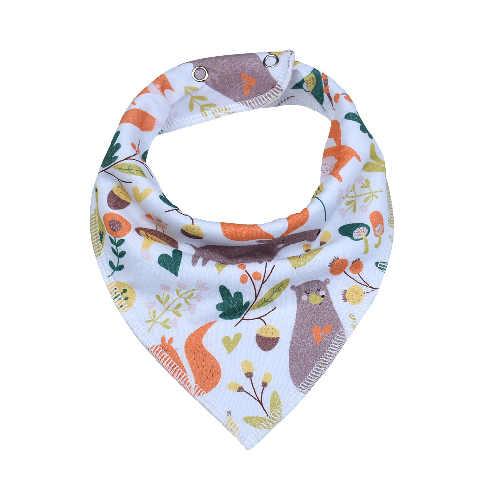 Polyester Printing Cute Baby Drool Bibs Double Deck Triangular Scarf