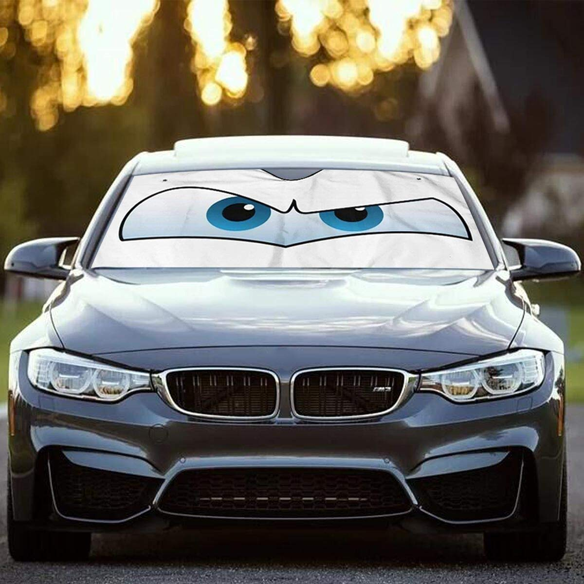 Car Sun Shade Windshield Cute Cartoon Eyes Sunshade, Portable Universal Car Sun Shade