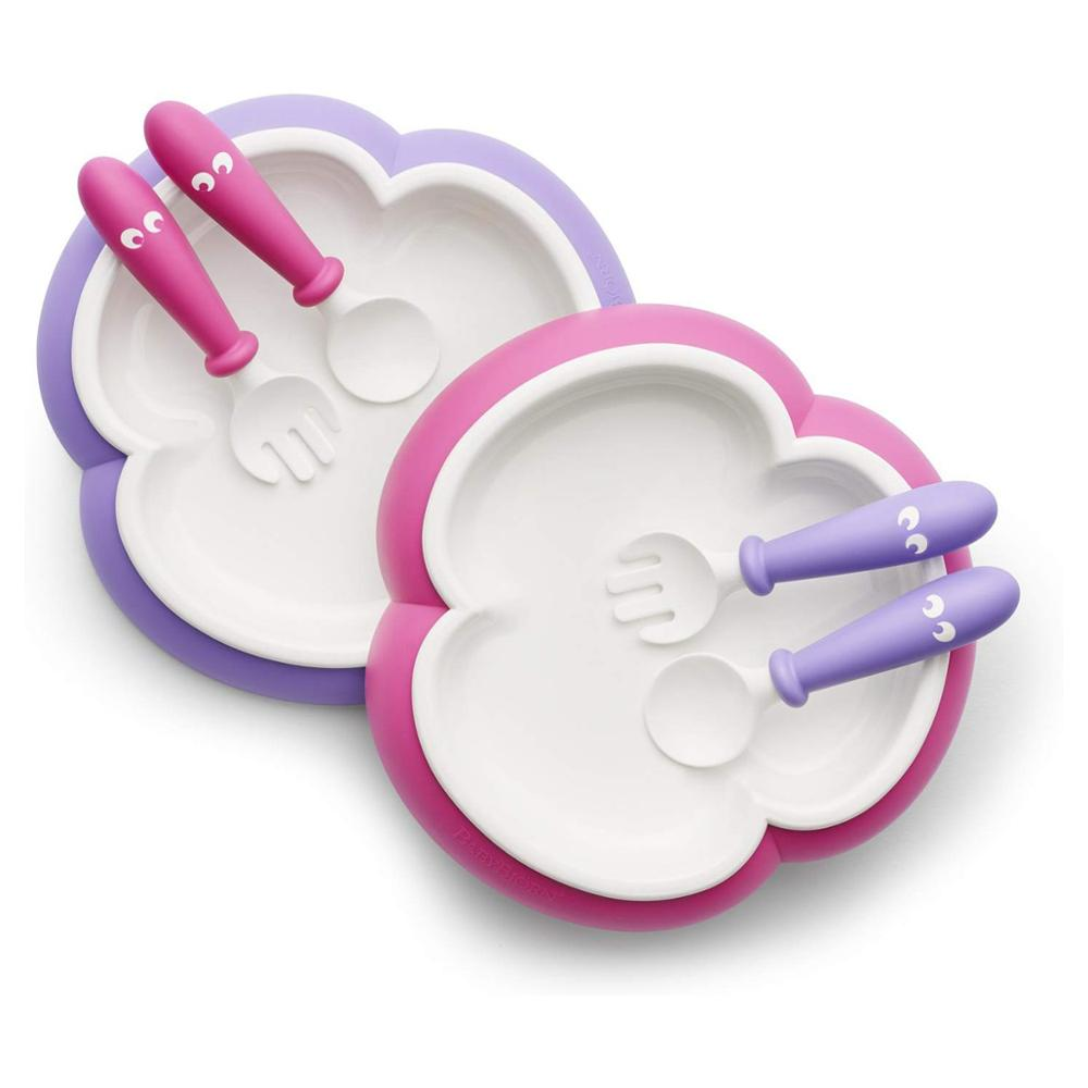 Baby Tray Spoon And Fork (Pink / Purple 2 sets) (applicable age 4 months-3 years)