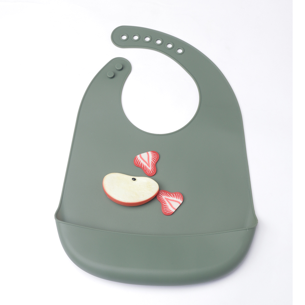 Baby Silicone Bibs Soft Waterproof Silicone Baby Bib with Food Catcher