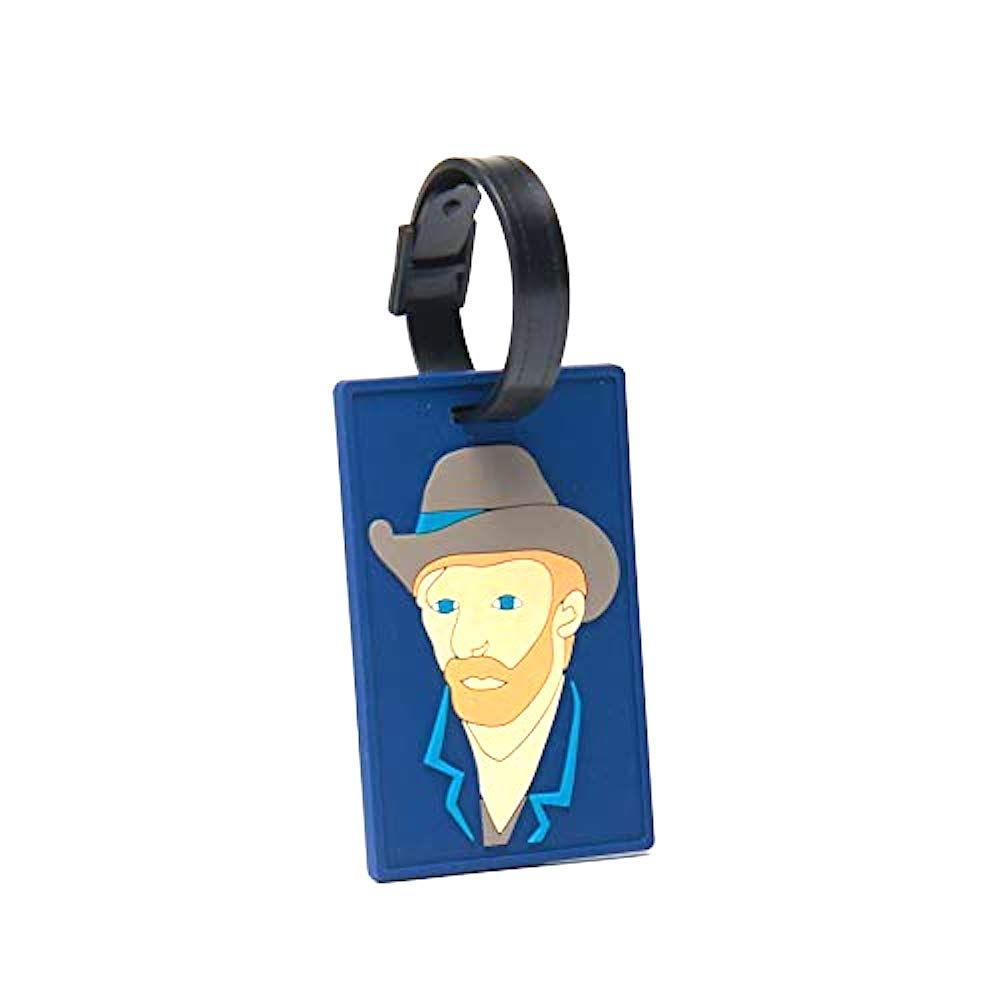 Luggage Bag Tag Person Self-portrait with Grey Felt Hat, Leather Tag