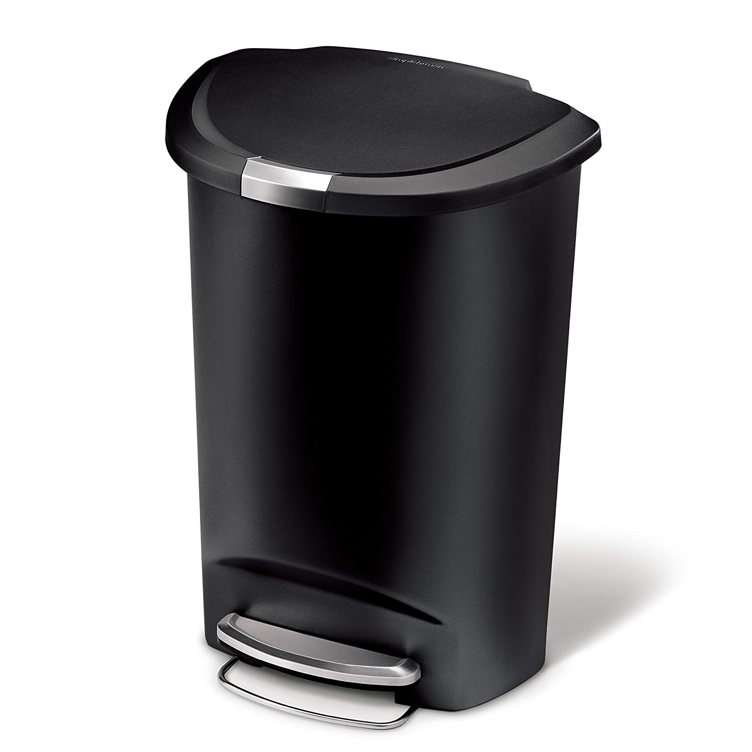 Trash Can Semi-Round Step Trash Can, Black Plastic